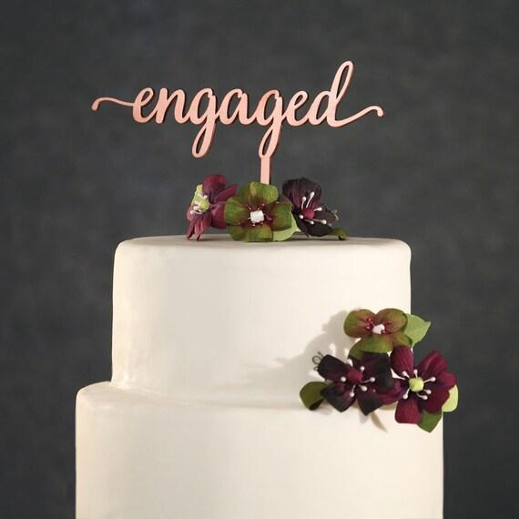 Cake Topper Rose Gold Engaged Cake Topper Rose Gold