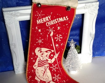 Vintage Christmas Elf Stocking, Merry Christmas Elf Stocking, Red and White Flocked Flannel Stocking