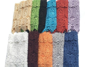 """8.5"""" Wide -- Blue Black Red Orange Gray Lilac Green Eggplant Champagne Floral Trimming Venice Lace Trim Sewing Notions Supplies #21333"""