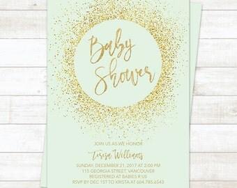 Mint Gold Baby Shower Invitation, Gold Glitter Baby Shower Invitation, Baby Shower Invite, Mint Gold Baby Shower Invite
