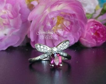 Little Bee~~Natural Rhodolite Garnet Silver Ring~~~ so cute!  January birthstone