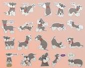 Suri the Schnauzer Sticker Set - 40 Waterproof Vinyl Stickers - dog sticker, Miniature Schnauzer, puppy, sticker pack, LINE sticker, novelty
