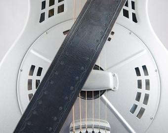 Leather Guitar Strap, Hand-tooled, Original Design, Adjustable