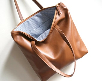 Chocolate Leather Zip Tote