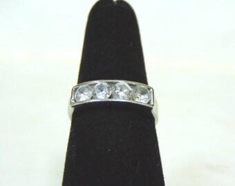 Womens Vintage Estate Sterling Silver Ring w/ Faux Diamonds 2.7g #E3028