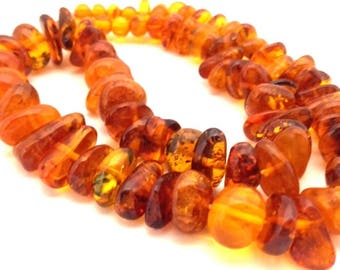 Amber Baltic Necklace 41.03 Gr Vintage Honey Golden Cognac Color (WQ050)