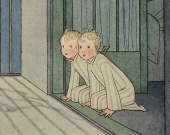 Vintage-1925-Book Plate-Henriette Willebeek Le Mair-Matted-Twins-Children-Bedtime-Home-Nursery decor
