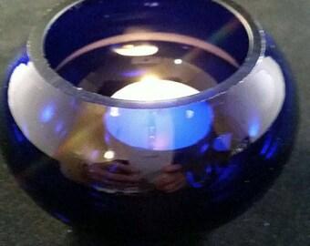 Cobalt Catch All, Candle Holder Bowl