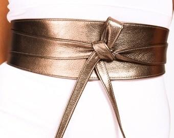 Antique Gold Leather tie Obi Belt | Bronze Belt | Bridesmaid Sash | Waist corset Belt | tie belt | Real Leather wrap Belt | plus size