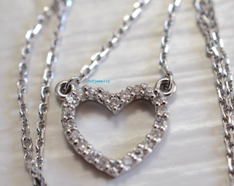SALE! 14K White Gold Diamond Heart Necklace
