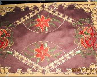 Rectangle Embroidered Lace Christmas Placemats; set of 6, Chocolate Brown and Red