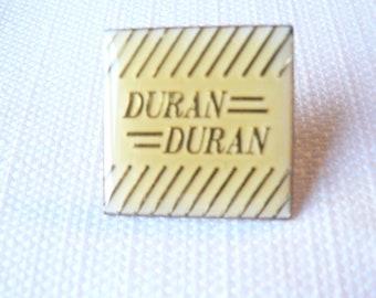 Vintage 1980s Duran Duran Square Enamel - Pin / Button / Badge