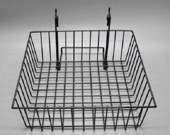 "12"" x 12"" Metal Gridwall Basket w/ Hooks - Black 119073"