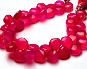 1  Full Stand 8 Inch Long Strand,Superb Pink Color CHALCEDONY  Smooth Heart Shape Beads Briolettes 10 TO 11  MM size