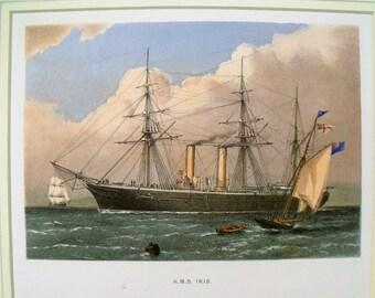 Antique Colour Lithographic Print HMS IRIS Victorian Ships Royal Navy  (6157)