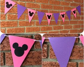 Minnie Mouse Pennant Banner - Flag Banner, Minnie Mouse Garland, Pennant Garland, Paper flags, Bunting , Wedding Flags, Birthday Flags