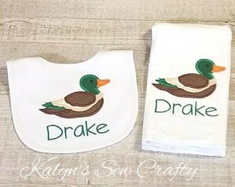 Burp Cloth with name, Duck, Mallard Duck, Applique Duck, Boy Cloth Diaper Burp, Tree Camo, Hunting Bib, Hunting Burp Cloth,Baby Gift