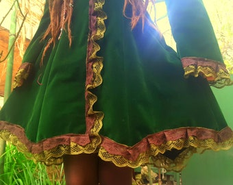 Forest Fairy Velvet Coat Pagan Witch Royal Leather Vampire