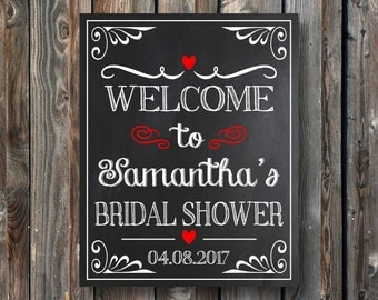 PRINTABLE Bridal Shower Welcome Sign-Personalized Welcome To Bridal Shower Chalkboard-Bridal Shower Print-Bridal Shower Chalkboard Sign-BS1