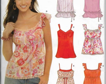 Summer Tops, New Look 6562, Sewing Pattern, 6 Different Styles, in One Pattern, Sizes 8 to 18, Factory Folded Uncut