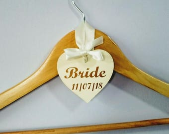 Personalised Hanger Hearts for wedding hangers/prom/christening - 8cm