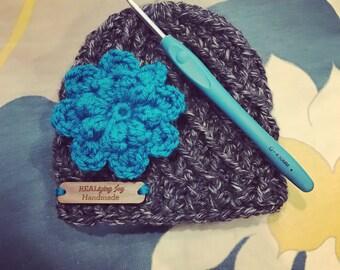 Newborn Crochet Lattice Beanie with Flower