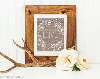 Wood Background LOVE Digital Art Print