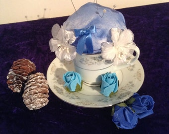 Adorable blue and white teacup pin cushion
