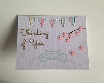 Tandem Bicycle with Cherry Blossoms Card