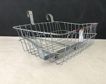 Bicycle Front Basket - Vintage Dennis Mitchell Metal Front Mounted Bike Basket - Repurpose Bike Basket