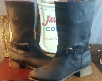 Size 8 Boots Womens J.Crew Genuine Leather Restored Custom Distressed Cosplay Motorcycle Brown Black