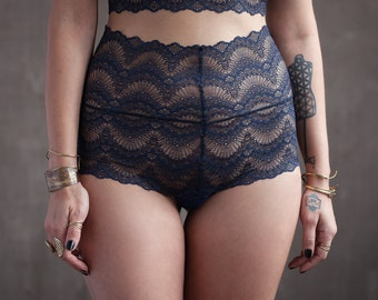 High Rise Navy Blue Lace Panties with Organic Cotton Liner