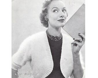 Vintage shrug knitting pattern in PDF instant download version