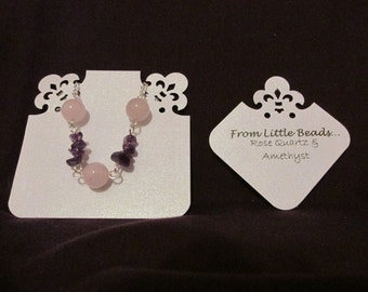 One Handmade Genuine Gemstone Necklace (Silver Plated) - Rose Quartz with Choice of Gemstone Nuggets