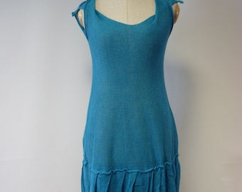 Amazing forget-me-not linen dress, M size. Special price.