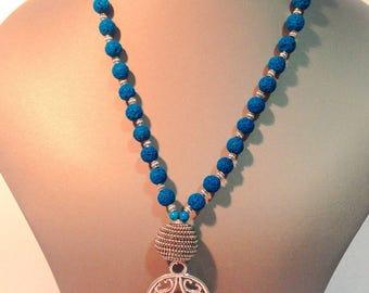 Hamsa necklace stone washed