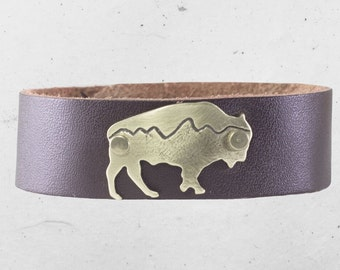 """Mountains on Buff Leather Cuff Bracelet-  3/4"""" leather cuff"""