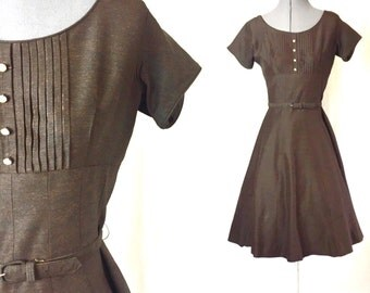 Shop on Vacation  Small ** 1960s DARK BROWN rhinestone belted day dress ** vintage sixties polyester dress