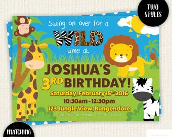 Jungle Birthday Invitation, wild birthday invitation, Safari Birthday invitation, Party Animal invitation, jungle party, Zoo, African