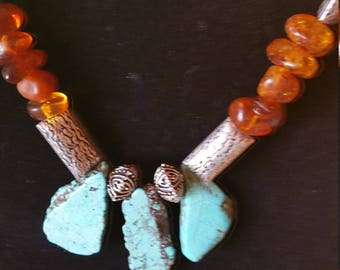 Russian Amber and Turquoise Necklace with Matching Earrings