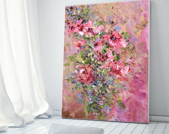Vintage Bouquet Red Flowers Pink Print on Canvas Large Poster Flowers Peonies Roses Bright Painting Bedroom Art Decor