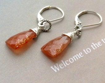 Sunstone Earrings, Red Gemstone Earrings, Confeffi Sunstone, sterling silver earrings, leverbacks, sunstone gemstone, natural gemstone