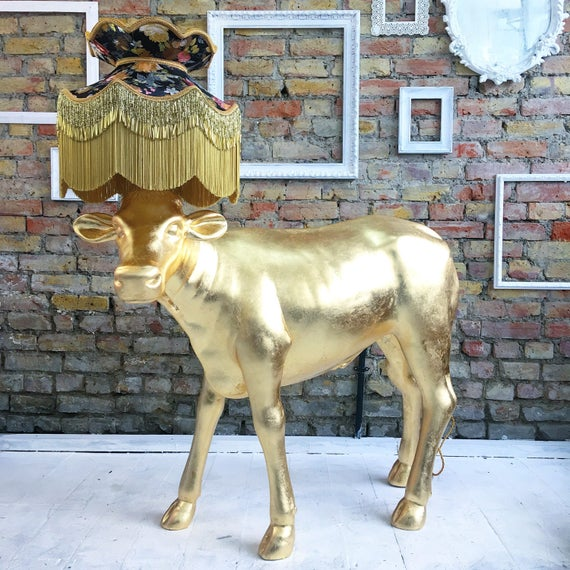 Upcycled floor standard lamp calf cow gold leaf gilding with handmade silk shade
