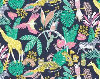 Josephine Kimberling for Blend Fabrics Tropical Paradise Tropical Friends Navy (Half metre)
