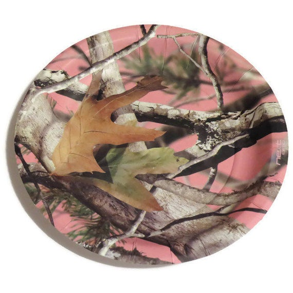 Pink camo dessert plates girls camouflage party for Pink camo decorations