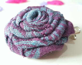 Purple large Rose hair clip/textile flower/metal hair clip/gift for her/rose hair bow/wrap scrap/hair flower/bohemian hair accessory