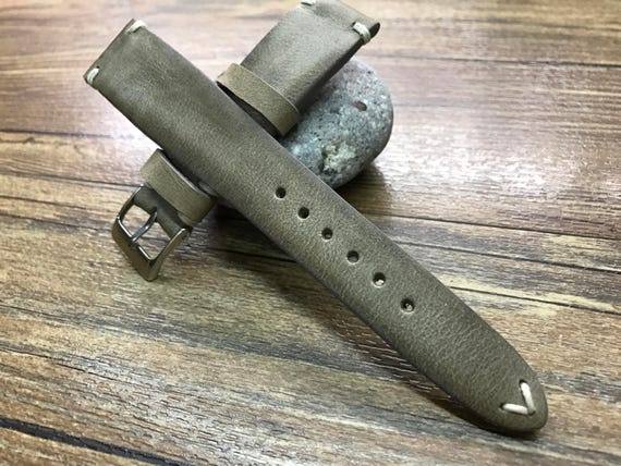 Handmade Leather Watch Strap | Leather Watch Band | Vintage raw gray watch strap for Rolex, IWC and Omega watch - 18mm/19mm/20mm lug