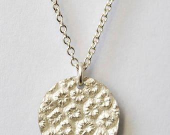 Silver Pendant or gold 18 k, Medal, fingerprint flower pattern