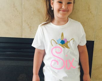 Unicorn Six  I Custom Birthday Shirt
