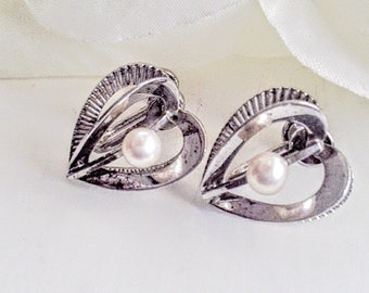 Sterling Silver Heart Earrings, Pearl Earrings, Sweetheart Earrings, Sterling Silver Heart Earrings, Vintage Heart Earrings, Gifts For Her